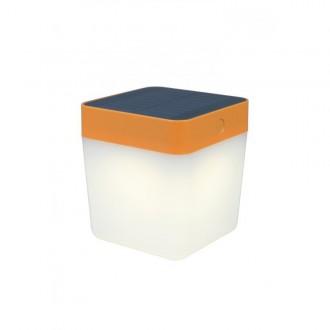 LUTEC 6908001340 | Table-Cube Lutec prenosné, stolové svietidlo dotykový prepínač s reguláciou svetla slnečné kolektorové / solárne, regulovateľná intenzita svetla 1x LED 100lm 3000K IP44 pomaranč, opál