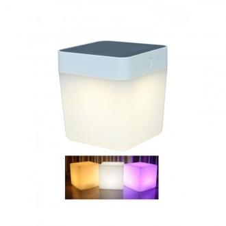 LUTEC 6908003331 | Table-Cube Lutec prenosné, stolové svietidlo dotykový prepínač s reguláciou svetla slnečné kolektorové / solárne, regulovateľná intenzita svetla, meniace farbu 1x LED 100lm IP44 biela, opál