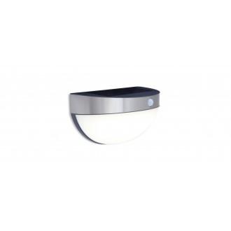 LUTEC 6908701001 | Bubble Lutec stenové svietidlo pohybový senzor, prepínač slnečné kolektorové / solárne 1x LED 200lm 4000K IP44 zušľachtená oceľ, nehrdzavejúca oceľ, opál