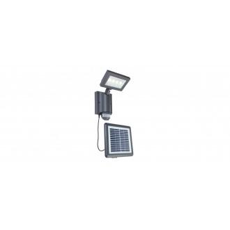 LUTEC 6910101118 | Nevada-LU Lutec svetlomet svietidlo pohybový senzor, svetelný senzor - súmrakový spínač slnečné kolektorové / solárne, otočné prvky 1x LED 450lm 4000K IP44 antracitová sivá, priesvitné