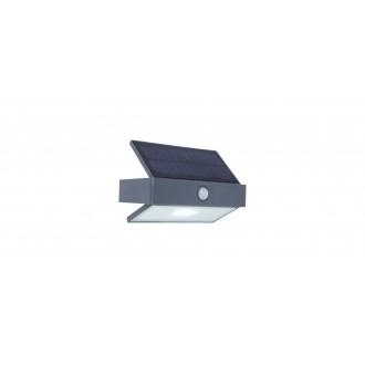 LUTEC 6910601335 | Arrow-LU Lutec rameno stenové svietidlo pohybový senzor, prepínač slnečné kolektorové / solárne 1x LED 180lm 5000K IP44 antracitová sivá, priesvitné