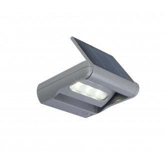 LUTEC 6914401000 | Mini-LedspoT Lutec rameno stenové svietidlo prepínač s reguláciou svetla slnečné kolektorové / solárne, regulovateľná intenzita svetla, otočné prvky 1x LED 100lm 4000K IP44 strieborno sivá, priesvitné