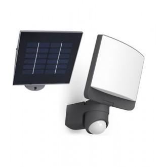 LUTEC 6925601345 | Sunshine Lutec svetlomet svietidlo pohybový senzor, svetelný senzor - súmrakový spínač slnečné kolektorové / solárne, otočné prvky 1x LED 500lm 5000K IP44 antracitová sivá, opál