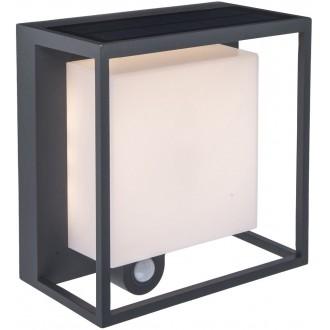 LUTEC 6934601118 | Curtis Lutec stenové svietidlo pohybový senzor slnečné kolektorové / solárne 1x LED 300lm 3000K IP54 tmavošedá, opál