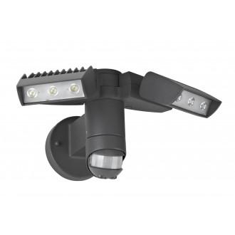 LUTEC 7615601118 | Corn Lutec svetlomet svietidlo pohybový senzor, svetelný senzor - súmrakový spínač otočné prvky 2x LED 2100lm 4000K IP54 antracitová sivá