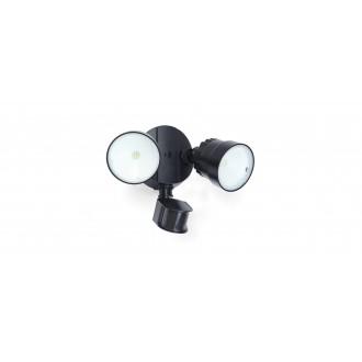 LUTEC 7622104330 | Shrimp Lutec svetlomet svietidlo pohybový senzor, svetelný senzor - súmrakový spínač otočné prvky 2x LED 1360lm 5000K IP54 čierna, priesvitné