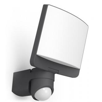LUTEC 7625601345 | Sunshine Lutec svetlomet svietidlo pohybový senzor, svetelný senzor - súmrakový spínač otočné prvky 1x LED 1200lm 5000K IP44 antracitová sivá, opál