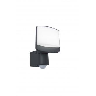 LUTEC 7625701345 | Sunshine Lutec svetlomet svietidlo pohybový senzor, svetelný senzor - súmrakový spínač otočné prvky 1x LED 800lm 5000K IP44 antracitová sivá, opál