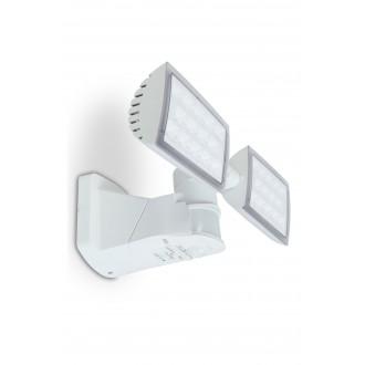 LUTEC 7629401331 | Peri-LU Lutec svetlomet svietidlo pohybový senzor, svetelný senzor - súmrakový spínač otočné prvky 2x LED 3280lm 5000K IP54 biela, priesvitné