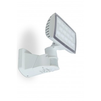 LUTEC 7629501331 | Peri-LU Lutec svetlomet svietidlo pohybový senzor, svetelný senzor - súmrakový spínač otočné prvky 1x LED 1710lm 5000K IP54 biela, priesvitné
