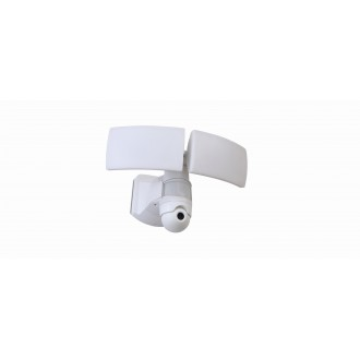 LUTEC 7632401053 | Secury_Light-Libra Lutec svietidlo skamerou svetlomet pohybový senzor, svetelný senzor - súmrakový spínač reproduktor, mikrofón, regulovateľná intenzita svetla, otočné prvky, Wifi pripojenie 1x LED 3000lm 5000K IP44 biela, opál