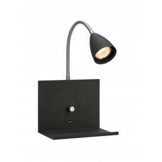 MARKSLOJD 107141 | Logi Markslojd rameno stenové svietidlo prepínač s reguláciou svetla regulovateľná intenzita svetla, USB prijímač 1x GU10 čierna, chróm