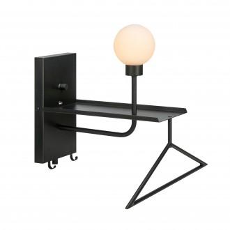 MARKSLOJD 107198 | Carson-MS Markslojd stenové svietidlo prepínač regulovateľná intenzita svetla, USB prijímač, vešiak 1x G9 čierna, opál