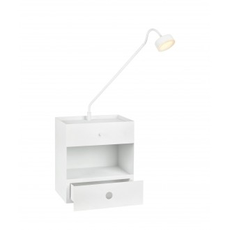 MARKSLOJD 107376 | Draw Markslojd stenové svietidlo prepínač s reguláciou svetla regulovateľná intenzita svetla, USB prijímač, šuplík 1x LED 525lm biela, opál
