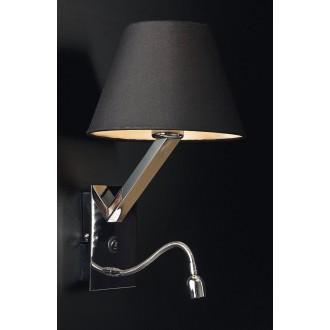 MAXLIGHT 5103WA/BL | OrlandoM Maxlight stenové svietidlo prepínač flexibilné 1x E27 + 1x LED čierna, chróm