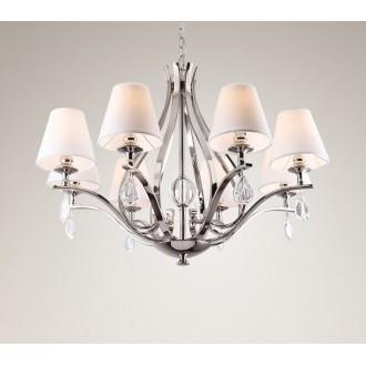 MAXLIGHT P0111 | Palace Maxlight luster svietidlo 8x E14 chróm, biela, priesvitné