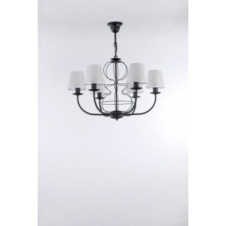 NAMAT 3262 | Fiora Namat luster svietidlo 6x E14 matná čierna, biela priesvitná