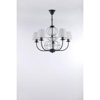 NAMAT 3263 | Fiora Namat luster svietidlo 5x E14 matná čierna, biela priesvitná