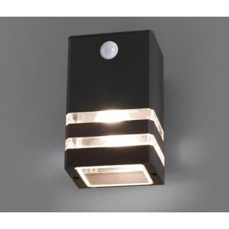 NOWODVORSKI 7017 | Rio Nowodvorski stenové svietidlo pohybový senzor 1x E27 IP54 čierna, priesvitná