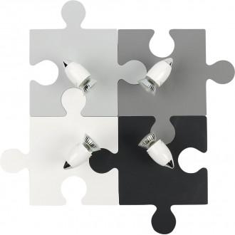 NOWODVORSKI 9728 | Puzzle Nowodvorski stenové, stropné svietidlo otočné prvky 4x GU10 sivé, biela, čierna