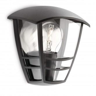 PHILIPS 15387/30/16 | CreekP Philips stenové svietidlo 1x E27 IP44 čierna