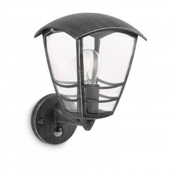 PHILIPS 15468/54/16 | Stream Philips stenové svietidlo pohybový senzor 1x E27 IP44 antická čierna, priesvitné