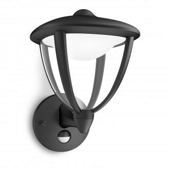 PHILIPS 15479/30/16 | Robin Philips stenové svietidlo pohybový senzor 1x LED 430lm 2700K IP44 čierna, biela, priesvitné
