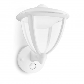 PHILIPS 15479/31/16 | Robin Philips stenové svietidlo pohybový senzor 1x LED 430lm 2700K IP44 biela, priesvitné