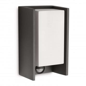 PHILIPS 16352/93/16 | Bridge Philips stenové svietidlo pohybový senzor 1x E27 970lm 2700K IP44 antracitová sivá