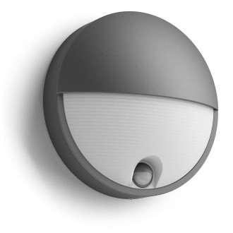 PHILIPS 16456/93/P3 | Capricorn Philips stenové svietidlo pohybový senzor 1x LED 600lm 4000K IP44 antracit, biela