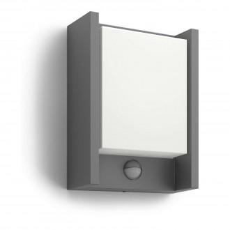 PHILIPS 16461/93/16 | Arbour Philips stenové svietidlo pohybový senzor 1x LED 600lm 2700K IP44 antracit, biela