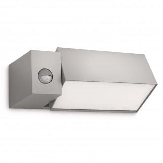 PHILIPS 16943/87/16 | Border Philips stenové svietidlo pohybový senzor otočné prvky 1x E27 1430lm 2700K IP44 svetlo šedá