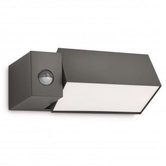 PHILIPS 16943/93/16 | Border Philips stenové svietidlo pohybový senzor otočné prvky 1x E27 1430lm 2700K IP44 antracitová sivá