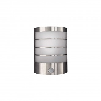 PHILIPS 17174/47/10 | CalgaryP1 Philips stenové svietidlo pohybový senzor navrhované na úsporné žiarovky 1x E14 IP44 nerez, biela