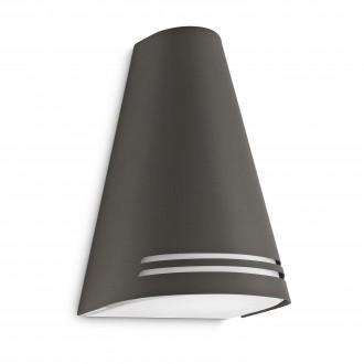 PHILIPS 17226/93/16 | Woods Philips stenové svietidlo navrhované na úsporné žiarovky 1x E27 970lm 2700K IP44 antracit, biela