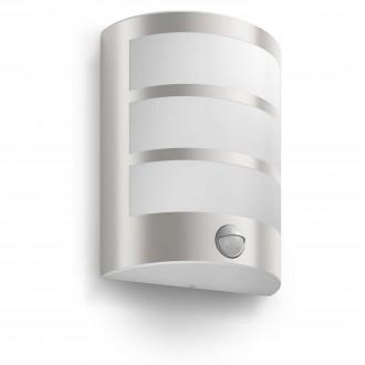 PHILIPS 17324/47/16 | Python Philips stenové svietidlo pohybový senzor 1x LED 600lm 2700K IP44 nerez, biela
