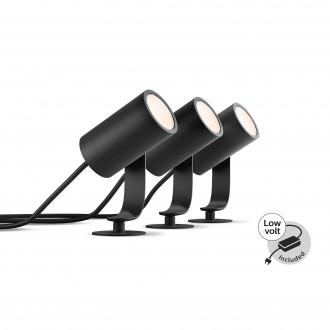 PHILIPS 17414/30/P7 | PHILIPS-hue-Lily Philips zapichovacie BASE hue múdre osvetlenie + LED napájací zdroj regulovateľná intenzita svetla, nastaviteľná farebná teplota, meniace farbu, 3 dielna súprava 3x LED 1920lm 2700 <-> 6500K IP65 čierna