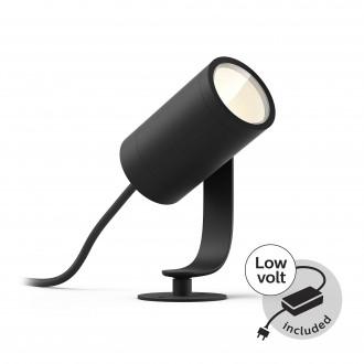PHILIPS 17428/30/P7 | PHILIPS-hue-Lily Philips zapichovacie BASE hue múdre osvetlenie + LED napájací zdroj regulovateľná intenzita svetla, nastaviteľná farebná teplota, meniace farbu 1x LED 640lm 2700 <-> 6500K IP65 čierna