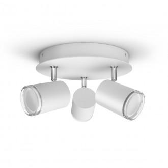 PHILIPS 34181/31/P6 | PHILIPS-hue-Adore Philips spot hue DIM prenosný vypínač + hue múdre osvetlenie kruhový diaľkový ovládač regulovateľná intenzita svetla, nastaviteľná farebná teplota, Bluetooth 3x GU10 1050lm 2200 <-> 6500K IP44 biela