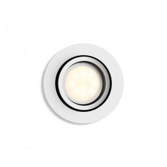 PHILIPS 50411/31/P9 | PHILIPS-hue-Milliskin Philips zabudovateľné hue múdre osvetlenie kruhový regulovateľná intenzita svetla, nastaviteľná farebná teplota, Bluetooth, sklápacie Ø90mm 1x GU10 350lm 2200 <-> 6500K biela