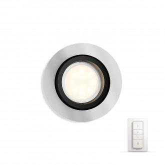 PHILIPS 50411/48/P7 | PHILIPS-hue-Milliskin Philips zabudovateľné hue DIM prenosný vypínač + hue múdre osvetlenie kruhový diaľkový ovládač regulovateľná intenzita svetla, nastaviteľná farebná teplota, sklápacie 90x90mm 1x GU10 250lm 2200 <-> 6500K h