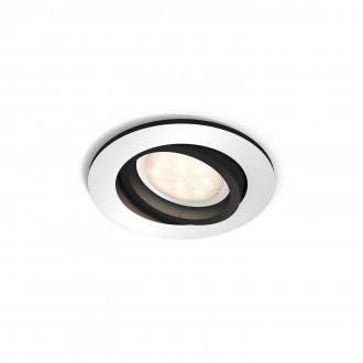 PHILIPS 50411/48/P8 | PHILIPS-hue_Milliskin Philips zabudovateľné hue múdre osvetlenie kruhový regulovateľná intenzita svetla, nastaviteľná farebná teplota, sklápacie 90x90mm 1x GU10 250lm 2200 <-> 6500K hliník