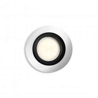 PHILIPS 50411/48/P9 | PHILIPS-hue-Milliskin Philips zabudovateľné hue múdre osvetlenie kruhový regulovateľná intenzita svetla, nastaviteľná farebná teplota, Bluetooth, sklápacie Ø90mm 1x GU10 350lm 2200 <-> 6500K hliník