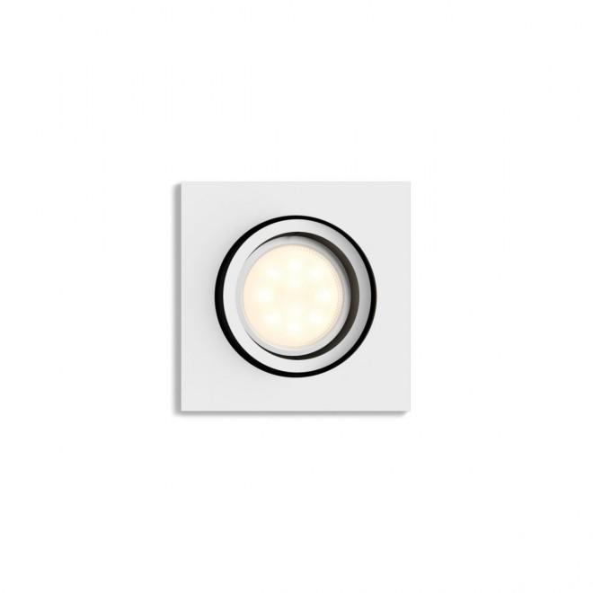 PHILIPS 50421/31/P9 | PHILIPS-hue-Milliskin Philips zabudovateľné hue múdre osvetlenie štvorec regulovateľná intenzita svetla, nastaviteľná farebná teplota, Bluetooth, sklápacie 90x90mm 1x GU10 350lm 2200 <-> 6500K biela