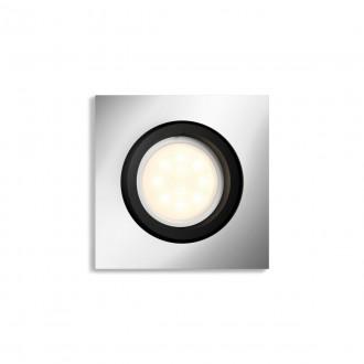PHILIPS 50421/48/P9 | PHILIPS-hue-Milliskin Philips zabudovateľné hue múdre osvetlenie štvorec regulovateľná intenzita svetla, nastaviteľná farebná teplota, Bluetooth, sklápacie 90x90mm 1x GU10 350lm 2200 <-> 6500K hliník