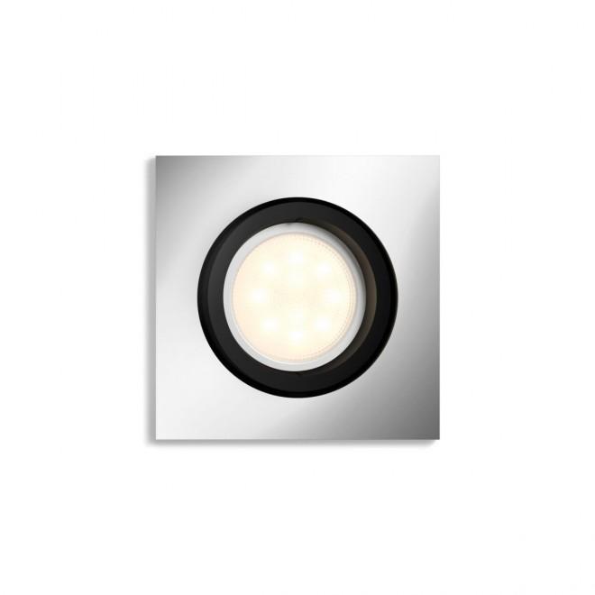 PHILIPS 50421/48/P9   PHILIPS-hue-Milliskin Philips zabudovateľné hue múdre osvetlenie štvorec regulovateľná intenzita svetla, nastaviteľná farebná teplota, Bluetooth, sklápacie 90x90mm 1x GU10 350lm 2200 <-> 6500K hliník