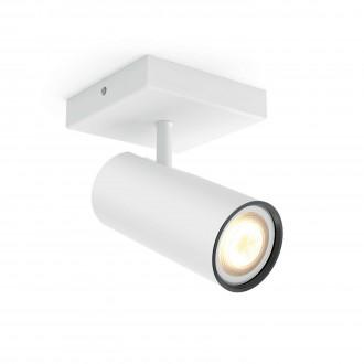PHILIPS 50461/31/P8 | PHILIPS-hue_Buratto Philips stenové, stropné hue múdre osvetlenie kruhový regulovateľná intenzita svetla, nastaviteľná farebná teplota 1x GU10 250lm 2200 <-> 6500K biela