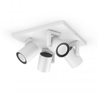 PHILIPS 50624/31/P7 | PHILIPS-hue-Argenta Philips spot hue múdre osvetlenie obdĺžnik regulovateľná intenzita svetla, meniace farbu, nastaviteľná farebná teplota, Bluetooth 4x GU10 1400lm 2200 <-> 6500K biela
