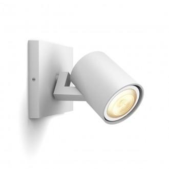 PHILIPS 53090/31/P9 | PHILIPS-hue-Runner Philips spot hue múdre osvetlenie kruhový regulovateľná intenzita svetla, nastaviteľná farebná teplota, Bluetooth 1x GU10 350lm 2200 <-> 6500K biela