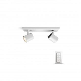 PHILIPS 53092/31/P7 | PHILIPS-hue_Runner Philips stenové, stropné hue múdre osvetlenie kruhový diaľkový ovládač regulovateľná intenzita svetla, nastaviteľná farebná teplota 2x GU10 500lm 2200 <-> 6500K biela